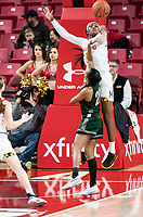 COLLEGE PARK, MD - DECEMBER 8: Kaila Charles #5 of Maryland blocks a shot from Alexis Gray #20 of Loyola during a game between Loyola University and University of Maryland at Xfinity Center on December 8, 2019 in College Park, Maryland.