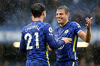Chelsea's Cesar Azpilicueta celebrates their victory with Ben Chilwell at the end of the match during Chelsea vs Southampton, Premier League Football at Stamford Bridge on 2nd October 2021