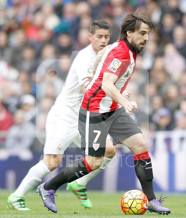 Real Madrid's James Rodriguez (l) and Athletic de Bilbao's Benat Etxebarria during La Liga match. February 13,2016. (ALTERPHOTOS/Acero)