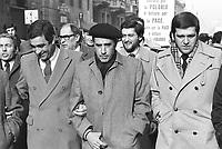- manifestazione in appoggio al sindacato polacco Solidarnosc, da sinistra Agostino Marianetti, Franco Marini e Giorgio Benvenuto, segretari dei sindacati CGIL, CISL e UIL (febbraio 1982)<br /> <br /> - demonstration in support of Polish labor union Solidarnosc, from left Agostino Marianetti, Franco Marini and Giorgio Benvenuto, secretaries of CGIL , CISL and UIL labor unions (February 1982)