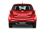 Straight rear view of a 2015 Toyota Yaris SE 5-Door Liftback AT 5 Door Hatchback Rear View  stock images
