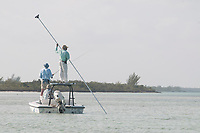 Anglers and guide fly fishing for bonefish (Albula vulpes), Andros Island, Bahamas.