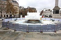 Trafalgar Square as you never see it. While the Covid-19 lockdown is on, the opportunity to drain the fountains, clean and do neccesary maintenance around one of London's most famous landmarks. London November 25th 2020<br /> <br /> Photo by Keith Mayhew