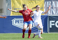 20190301 - LARNACA , CYPRUS : Finnish Nora Heroum (r) pictured in a duel with Czech Tereza Szewieczkova (left) during a women's soccer game between Finland and Czech Republic , on Friday 1 March 2019 at the AEK Arena in Larnaca , Cyprus . This is the second game in group A for Both teams during the Cyprus Womens Cup 2019 , a prestigious women soccer tournament as a preparation on the Uefa Women's Euro 2021 qualification duels. PHOTO SPORTPIX.BE   DAVID CATRY