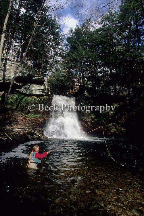 Fly fishing at Sullivan Falls, PA