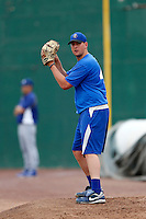 Duke Von Schamann #47 of the Rancho Cucamonga Quakes throws in the bullpen before a game against the Inland Empire 66'ers at San Manuel Stadium on April 24, 2013 in San Bernardino, California. Inland Empire defeated Rancho Cucamonga, 2-1. (Larry Goren/Four Seam Images)