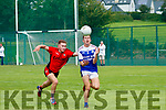 Tommy Cronin (Kenmare) in action against Jack Kennelly (Shannon Rangers) in their senior kerry football champoinship clash at Kenmare on Sunday.