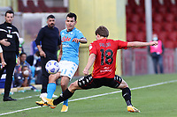 Hirving Lozano of SSC Napoli and Foulon Daam of Benevento Calcio compete for the ball<br /> during the Serie A football match between Benevento Calcio and SSC Napoli at stadio Ciro Vigorito in Benevento (Italy), October 25th, 2020. <br /> Photo Cesare Purini / Insidefoto