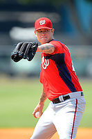 Washington Nationals pitcher Ryan Perry #45 during a minor league Spring Training game against the Detroit Tigers at Tiger Town on March 22, 2013 in Lakeland, Florida.  (Mike Janes/Four Seam Images)