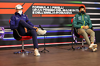 15th April 2021; Autodromo Enzo and Dino Ferrari, Imola, Italy;  F1 Grand Prix of Emilia Romagna, driver arrival and inspection day;  63 George Russell GBR, Williams Racing, 18 Lance Stroll CAN, Aston Martin Cognizant F1 Team