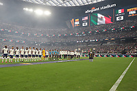 LAS VEGAS, NV - AUGUST 1: The USMNT and Mexico line up before a game between Mexico and USMNT at Allegiant Stadium on August 1, 2021 in Las Vegas, Nevada.