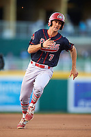 Peoria Chiefs third baseman Danny Diekroeger (7) running the bases during a game against the Lansing Lugnuts on June 6, 2015 at Cooley Law School Stadium in Lansing, Michigan.  Lansing defeated Peoria 6-2.  (Mike Janes/Four Seam Images)
