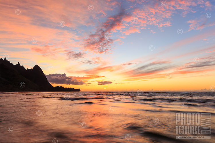 A brilliant sunset at Tunnels Beach, Kaua'i.