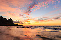 A brilliant sunset at Tunnels Beach, Kaua'i.