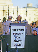 "United States Representative John Lewis (Democrat of Georgia) speaks at the ""Campaign to the Summit"", a march on Washington, D.C. supporting freedom for Jews living in the Soviet Union, on Sunday, December 6, 1987.  200,000 people marched to focus attention on the repression of Soviet Jewry, was scheduled a day before United States President Ronald Reagan and Soviet President Mikhail Gorbachev began a 2 day summit in Washington where they signed the Intermediate Range Nuclear Forces (INF) Treaty.<br />