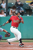 Fidel Pena #23 of the Visalia Rawhide bats against the Stockton Ports at Rawhide Ballpark on May 5, 2014 in Visalia California. Visalia defeated Stockton, 8-6. (Larry Goren/Four Seam Images)