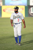 Andrew Toles (3) of the Rancho Cucamonga Quakes before a game against the Lancaster JetHawks at The Hanger on April 19, 2016 in Lancaster, California. Rancho Cucamonga defeated Lancaster, 10-6. (Larry Goren/Four Seam Images)
