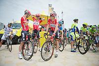 teammates/buddies Greg Henderson (NZL/Lotto-Belisol), Marcel Sieberg (DEU/Lotto-Belisol) & Adam Hansen (AUS/Lotto-Belisol) relaxed at the start.<br /> Henderson would later that day crash and abandon the race.<br /> <br /> 2014 Tour de France<br /> stage 4: Le Touquet-Paris-Plage/Lille Métropole (163km)