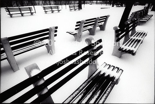 Snowy benches, Ft Tyron Park, NYC<br />