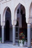 """Afrique/Maghreb/Maroc/El-Jadida : """"Le Palais Andalou"""", ancien palais du Pacha d'El-Jadida - Détail du patio"""