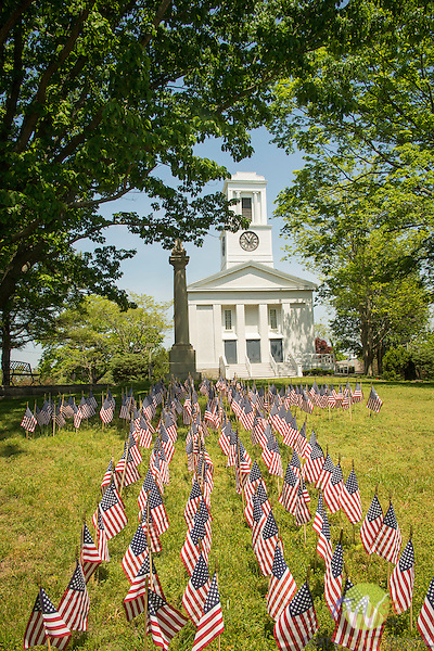 First Church of Christ, Clinton, CT. American Flag Memorial Day display.