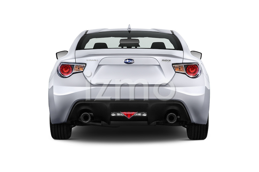 Straight rear view of a 2015 Subaru BRZ Limited AT 2 Door Coupe Rear View  stock images