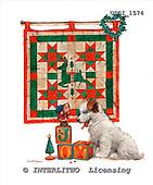 GIORDANO, CHRISTMAS ANIMALS, WEIHNACHTEN TIERE, NAVIDAD ANIMALES, paintings+++++,USGI1574,#XA# dogs,puppies