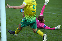 Hutt keeper Alex Paulsen is beaten for the only goal of the match during the Central League football match between Miramar Rangers and Lower Hutt AFC at David Farrington Park in Wellington, New Zealand on Saturday, 10 April 2021. Photo: Dave Lintott / lintottphoto.co.nz