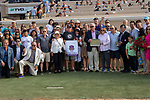 """DEL MAR, CA  AUGUST 18:  Flavien Prat and the connections in the winners circle after winningthe Del Mar Handicap by The Japan Racing Association (Grade ll), Breeders' Cup """"Win and You're In Turf Division"""", on August 18, 2018 at Del Mar Thoroughbred Club in Del Mar, CA. (Photo by Casey Phillips/Eclipse Sportswire/Getty ImagesGetty Images"""