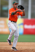 March 2, 2010:  Third Baseman Harold Martinez of the Miami Hurricanes during a game at Legends Field in Tampa, FL.  Photo By Mike Janes/Four Seam Images