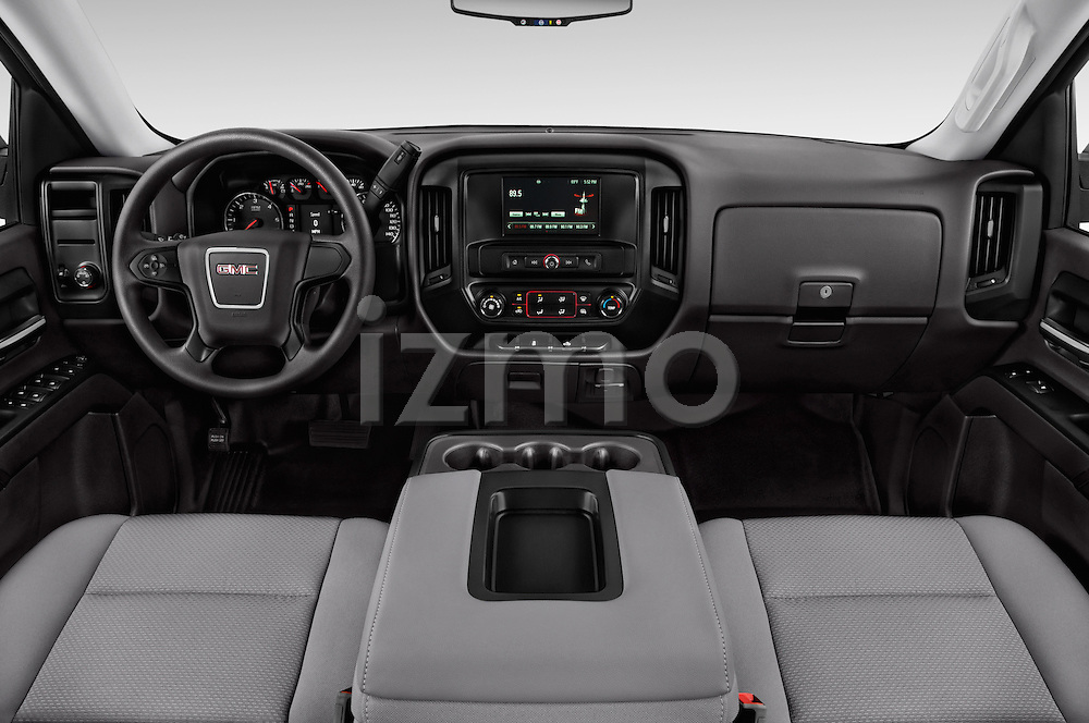Stock photo of straight dashboard view of 2017 GMC Sierra-1500 Double-Cab 4 Door Pickup Dashboard