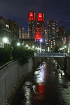 The Tokyo Metropolitan Government Building is illuminated in red on June 10, 2020, in Tokyo, Japan. Tokyo landmarks were lit up in red as part of the Tokyo Alert over the COVID-19 coronavirus.