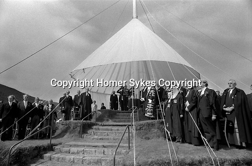 Isle of Man, 1970s. Tynwald is the Manx Parliament. The Lieutenant Governor and officials about to  leave Tynwald Hill after the open air Ceremony of Reading the Laws. They process to St Johns church where parliament will sit and he will sign in recently passed laws. The ceremony is usually observed on 5 July annually 1978