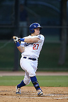Alex Verdugo #27 of the AZL Dodgers bats against the AZL Padres at Camelback Ranch on July 8, 2014 in Glendale, Arizona. (Larry Goren/Four Seam Images)