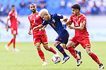 Chanathip Songkrasin of Thailand (L) fights for the ball with Sayed Redha Isa of Bahrain during the AFC Asian Cup UAE 2019 Group A match between Bahrain (BHR) and Thailand (THA) at Al Maktoum Stadium on 10 January 2019 in Dubai, United Arab Emirates. Photo by Marcio Rodrigo Machado / Power Sport Images