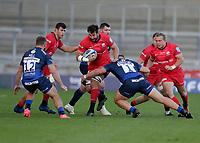 9th September 2020; AJ Bell Stadium, Salford, Lancashire, England; English Premiership Rugby, Sale Sharks versus Saracens;  Calum Clark of Saracens  is tackled by Valery Morozov of Sale Sharks