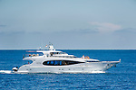 France, Provence-Alpes-Côte d'Azur, Cap-d'Ail: luxury yacht at sea | Frankreich, Provence-Alpes-Côte d'Azur, bei Cap-d'Ail: Luxusyacht auf hoher See