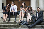 © Joel Goodman - 07973 332324 . 30/06/2017 . Stockport , UK . Mourners wait outside the Town Hall ahead of the service . The funeral of Martyn Hett at Stockport Town Hall . Martyn Hett was 29 years old when he was one of 22 people killed on 22 May 2017 in a murderous terrorist bombing committed by Salman Abedi, after an Ariana Grande concert at the Manchester Arena . Photo credit : Joel Goodman