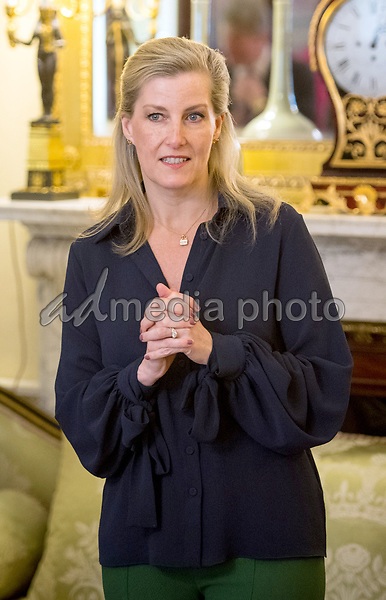 12 March 2018 - Sophie Countess of Wessex during a reception at Buckingham Palace in London for the Ice Maidens, the first all female team to ski coast to coast across Antarctica. Photo Credit: ALPR/AdMedia