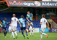 Garry Thompson of Wycombe Wanderers heads the ball onto the bar during the Friendly match between Aldershot Town and Wycombe Wanderers at the EBB Stadium, Aldershot, England on 26 July 2016. Photo by Alan  Stanford.