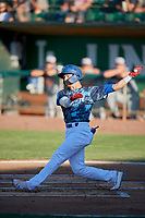 Sam McWilliams (5) of the Ogden Raptors at bat against the Rocky Mountain Vibes at Lindquist Field on July 5, 2019 in Ogden, Utah. The Raptors defeated the Vibes 6-4. (Stephen Smith/Four Seam Images)