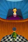 Illustrative image of judge looking at man representing accusation