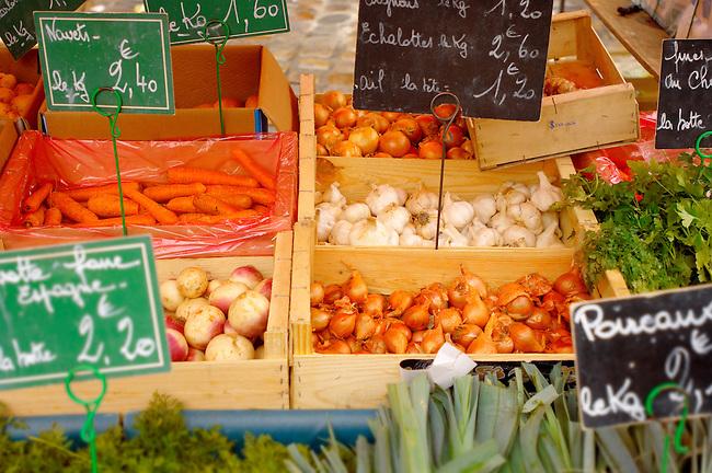 Honfleur vegatable market with boxes of vegetables