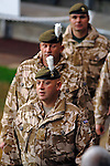 """Magners League - Ospreys v Connacht at the Liberty Stadium, Swansea : .Troops from A Company, Second Batallion, the Royal Welsh who have just returned from a tour of duty in Afghanistan parade around the pitch before the match to help raise money for the """"Help for Heroes"""" charity.."""