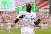 Jozy Altidore (17) of the United States reacts to a missed scoring opportunity  during an international friendly between the men's national teams of the United States (USA) and Turkey (TUR) at Lincoln Financial Field in Philadelphia, PA, on May 29, 2010.