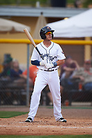 Lakeland Flying Tigers shortstop Casey Frawley (10) bats during a game against the Brevard County Manatees on April 20, 2016 at Henley Field in Lakeland, Florida.  Lakeland defeated Brevard County 5-2.  (Mike Janes/Four Seam Images)