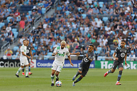 SAINT PAUL, MN - JUNE 23: Diego Fagundez #14 of Austin FC with the ball during a game between Austin FC and Minnesota United FC at Allianz Field on June 23, 2021 in Saint Paul, Minnesota.