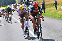 1st July 2021; Chateauroux, France; VAN AVERMAET Greg (BEL) of AG2R CITROEN TEAM and DE GENDT Thomas (BEL) of LOTTO SOUDAL during stage 6 of the 108th edition of the 2021 Tour de France cycling race