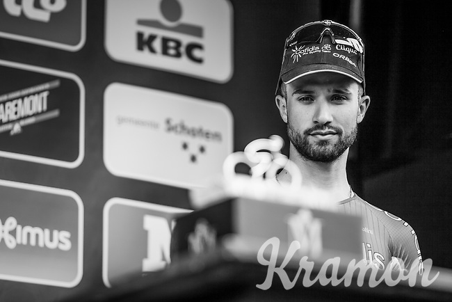 maybe next year?   Nacer Bouhanni on the podium after finishing in 3th place<br /> <br /> 105th Scheldeprijs 2017 (1.HC)<br /> 1day race: Mol > Schoten 200km