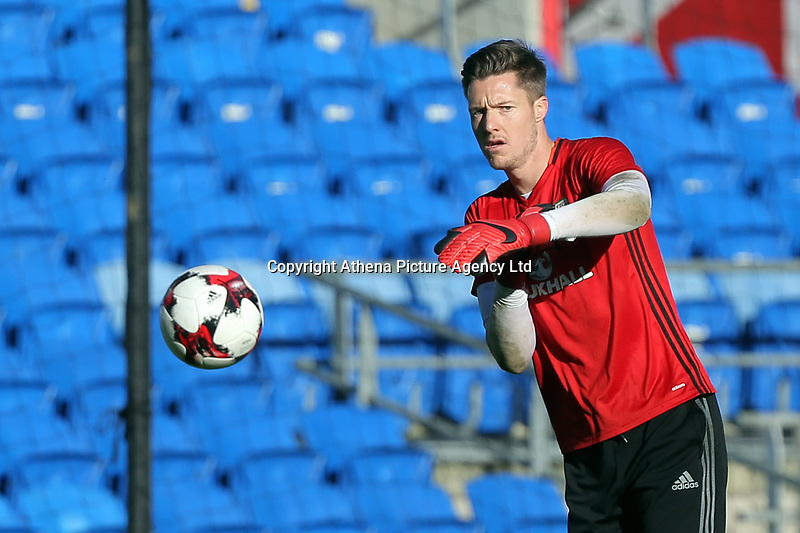 Wayne Hennessey in action during the Wales Press Conference and Training Session at The Cardiff City Stadium, Wales, UK. Monday 13 November 2017